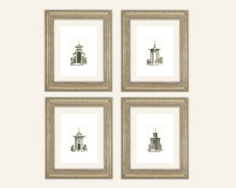 4 Set of Sepia Pagoda Style Garden Houses Archival Quality Prints