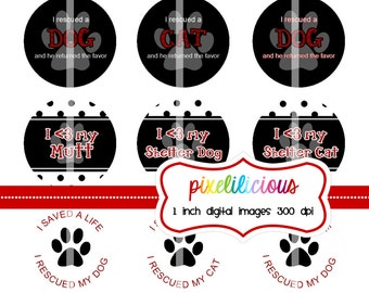 Bottle Cap Image Sheet - Instant Download - Rescued Animals -  1 Inch Digital Collage - Buy 2 Get 1 Free