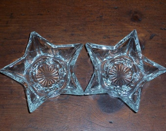 Vintage Glass Candle Holders...Set of 2 Glass Stars...Very Nice Condition...Vintage Wedding Table....Mid Century