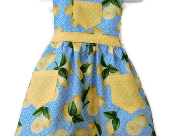 Retro Style Apron, Children's Apron, Little Girl Apron, Cooking Apron, Toddler Apron, Lemon Apron, Girl Apron, Baking Apron, Kids Apron