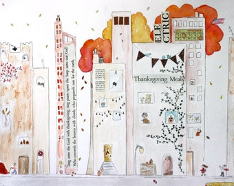 Its Autumn in the City, mixed media, illustration, ink, colored pencil, city street, New York City, city living