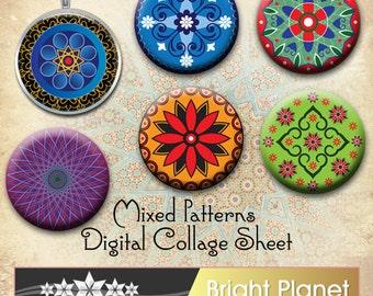 Moroccan, Arabian and Indian Ornate Pattern Circle  Digital Collage Sheet 1 inch circle