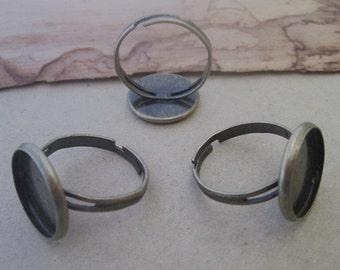 10 pcs antique bronze (copper) 14mm adjustable ring bases
