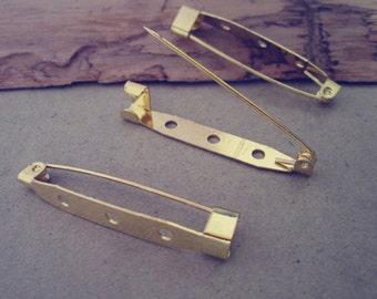 30pcs Gold color Brooch Pin Backs 5mmx35mm