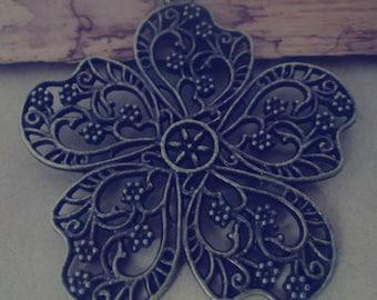 4pcs of Antique bronze flower Pendant charm  52mm