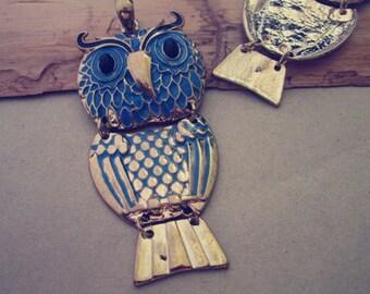 2pcs gold color owl pendant Charms 37mmx80mm