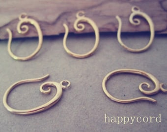 10pcs 10mmx18mm gold color (copper) ear hooks Earrings Accessories