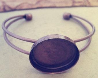 2pcs Antique copper red bracelet  base 25mm