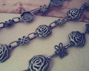3.28ft   Antique bronze Rose flower pendant chain