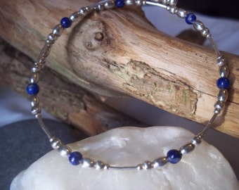 Lapis lazuli & sterling silver bangle
