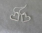 Sterling Silver Floating Heart Earrings