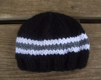 Gray,Black,Football,Baby,Boy,Hand Knit,Hat,Photo Prop,Gift,Newborn,Three Months,Infant,Sports,Teams