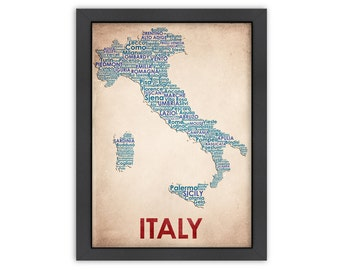 Italy Word Map, 100% Original Design from Flatiron Design