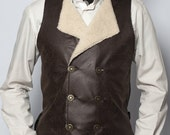 Steampunk Victorian waistcoat faux-fur faux-leather