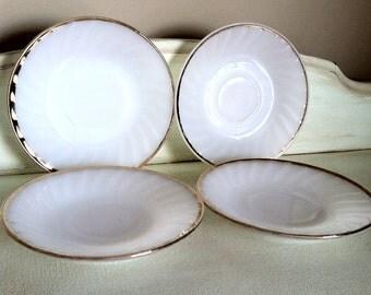 Vintage Fire King Milk Glass Saucers- Set of 4