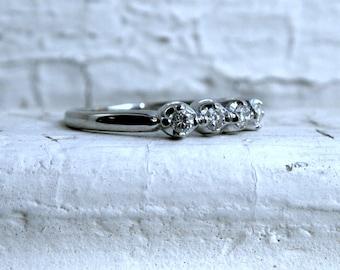 Art Deco Vintage 14K White Gold Diamond Wedding Band - 0.24ct.