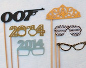 Hip New Year Party Props. 2014, Tiara, 80s Retro, 007, etc. Photo Booth Props. - PropMama