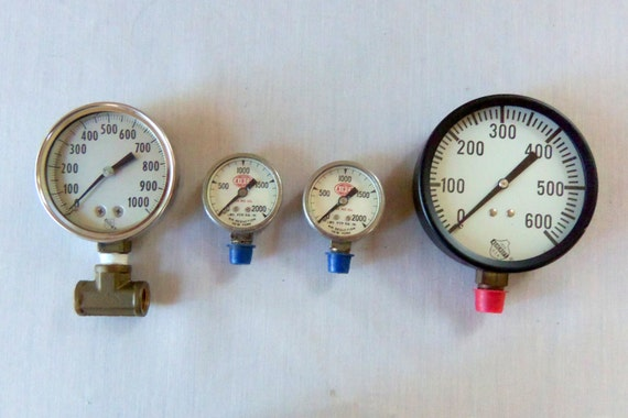 Items similar to steampunk set of vintage pressure gauges on etsy - Steampunk pressure gauge ...