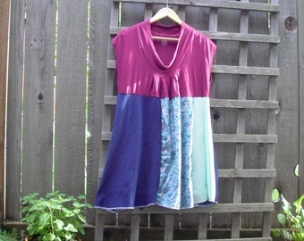 Romantic Color Block Baby Doll Dress/ Eco Tee Panel Dress Upcycled Shirt Dress L/XL