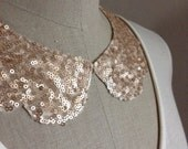 Rose Gold Sequin Peter Pan Collar Necklace, with Scallop Shape and Jewelry Clasp Closure