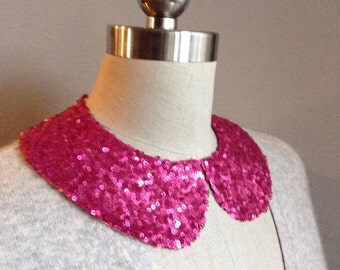 NEW COLOR: Fuchsia Sequin Peter Pan Collar Necklace with Jewelry Closure Back