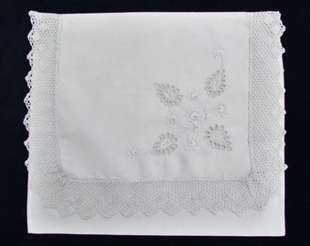 Antique pajama bag, embroidered lingerie pouch, lace trimmed pouch with white on white embroidery
