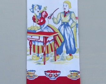Vintage kitchen towel with Dutch boy and girl, 1950's red and blue dish towel