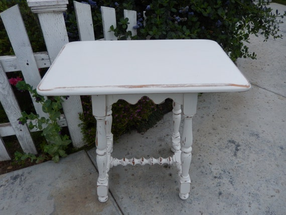 Scalloped End Table White Side Table Shabby Nightstand