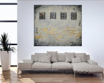 """SALE Original Modern Abstract Painting  Impasto acrylic painting black, beige, gold by Carola, 28"""" x 24"""" , 1,5"""" deep FREE SHIPPING"""
