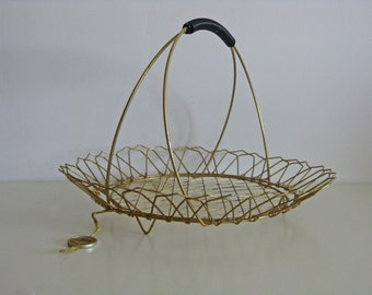 French gold metal wire basket by Escaut, mid century design
