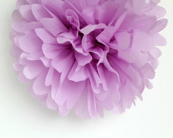 Purple Tissue Paper Pom Poms- Wedding, Birthday, Bridal Shower, Baby Shower, Party Decorations, Garden Party