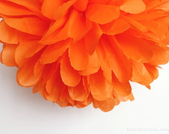Orange Tissue Paper Pom Poms- Wedding, Birthday, Bridal Shower, Baby Shower, Party Decorations, Garden Party