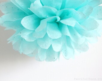 Aqua Silver Glitter Tissue Paper Pom Poms- Wedding, Birthday, Bridal Shower, Baby Shower, Party Decorations, Garden Party