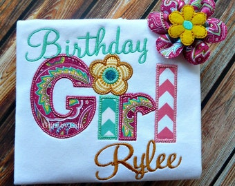 Personalized  birthday girl shirt, birthday shirt with matching bow, pink and blue birthday girl shirt, paisley and chevron fabric