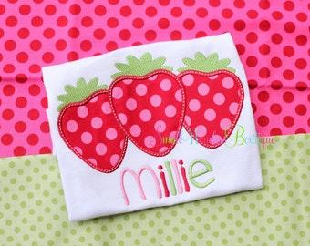 Strawberry Embroidered Shirt - Summer Shirt - Spring Shirt - Strawberry Shirt- Strawberry