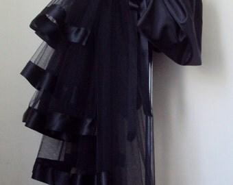 NeW Black Burlesque Victorian Steam Punk Cosplay Bustle Skirt