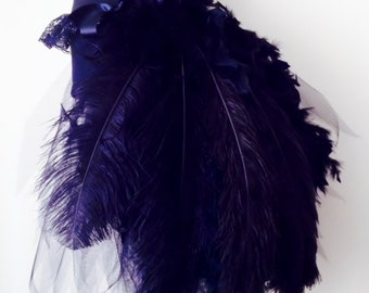 Black Swan Feathers and Ostrich Plumes Show Girl Burlesque Bustle Tutu skirt size XS S M L