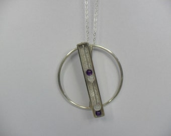 Sterling Silver Amethyst and Moonstone Kinetic Spinning Pendant