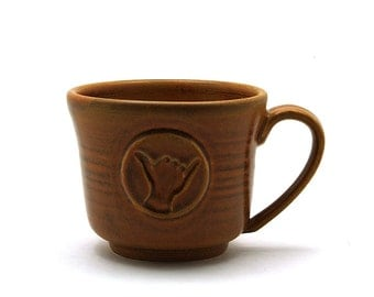 Shaka Coffee Mug: Brown Hang Loose Ceramic Cup, Hawaii Surfer, Handmade Tea Cup Pottery Gift for Him or Her - Ready to Ship