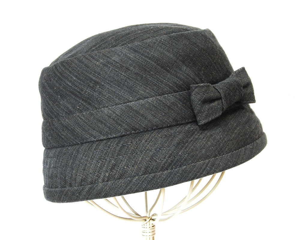 s hat cloche grey denim updated 1920 s style