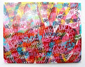 ORIGINAL street art abstract graffiti word colorful modern contemporary love art canvas