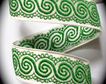 "Vintage Woven Ribbon -  1 "" x 5 yds  Natural and Green Swirl"