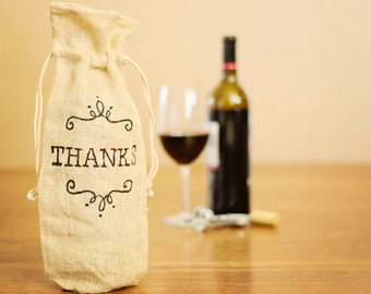 Thank You Wine Bag , Burlap Wine Gift Bag , Thank You Gift Bag , Hand Painted