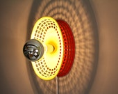 Upcycled Wall Lamp / Red and Yellow / Plastic Basket / Fried Food / Silver Bulb / Retro Kitsch / Repurposed Recycled / Functional Art