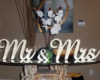 DIY Do-It-Yourself Wood Wooden Wedding Reception Mr and Mrs sign - 8 inches self-standing