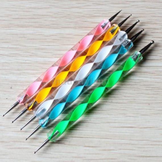 Set 5 2 Way Dotting Pen Marbleizing Tools Kits Nail Art