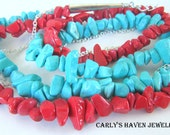 red and turquoise chalk Turquoise and silver 3 strand necklace with interwoven silver chain, ready to ship, handmade, gifts for women
