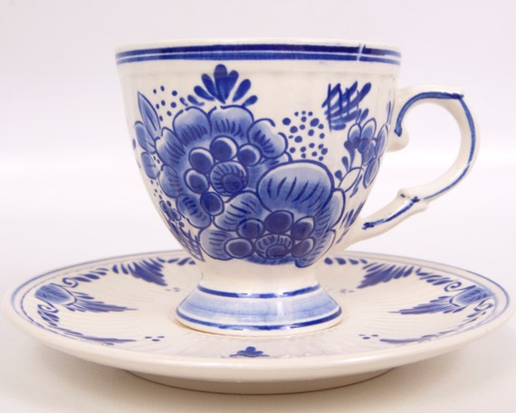 Vintage Delft Blue Teacup Saucer Hand Painted Dutch Numbered Creaown Blue and White Floral Pattern