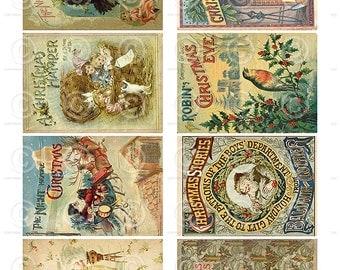 Vintage Christmas Book Cards ATC backgrounds Collage Sheet Printable Digital Download File