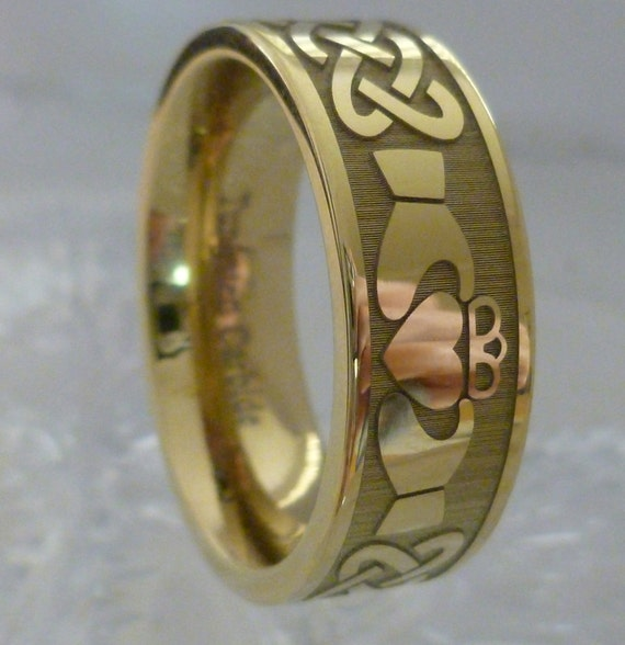 Claddagh Ring Tungsten Ring Claddagh Band Mens Womens